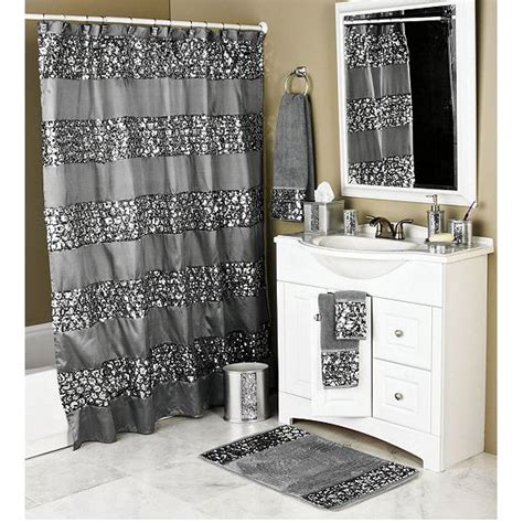 silver bathroom check out the deal on sinatra silver bling shower curtain