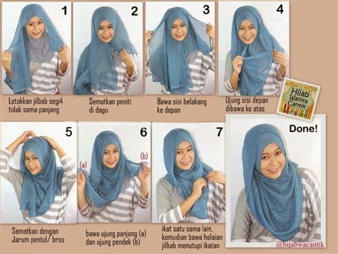 tutorial hijab segi 4 tanpa ninja cara memakai jilbab segi empat sederhana model jilbab