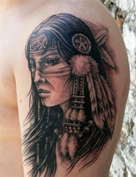 native american woman tattoo on shoulder