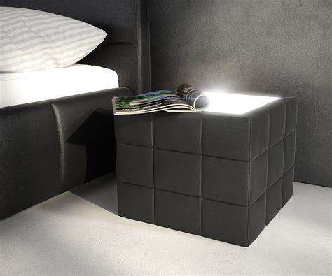 nachtkonsole led nachttisch nuncia 41x41cm schwarz beleuchtung steppnaht