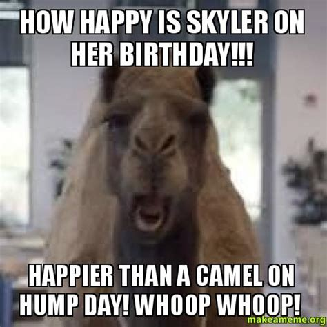 Happy Hump Day Meme - how happy is skyler on her birthday happier than a