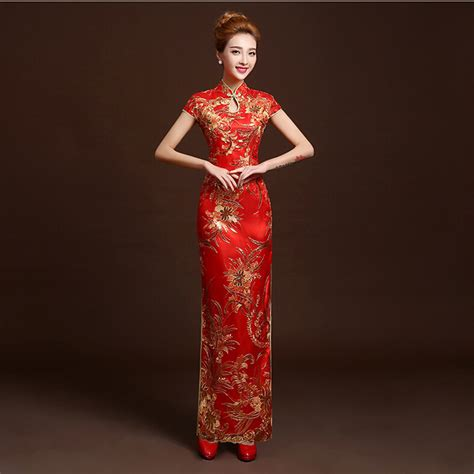 traditional chinese cheongsam dresses 4 color fashion red lace bride wedding qipao long