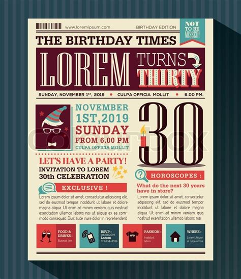 birthday card newspaper templates happy birthday card vector design layout in