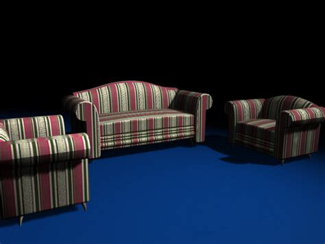 Striped Sofas Living Room Furniture 3d Model 3ds Max Files Striped Sofas Living Room Furniture