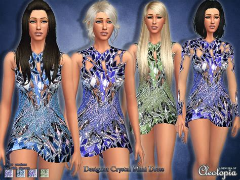design clothes the sims 4 crystal designer mini dress by cleotopia at tsr 187 sims 4