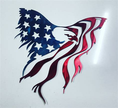 eagle american flag metal art painted we may by