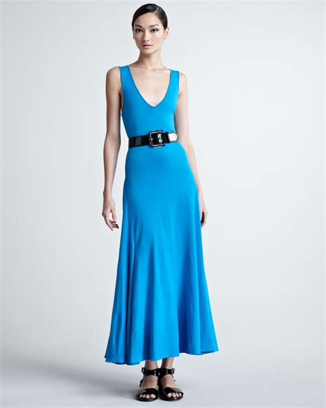 Rl Dress Glowing Blue ralph black label sleeveless maxi dress in blue carribean blue lyst