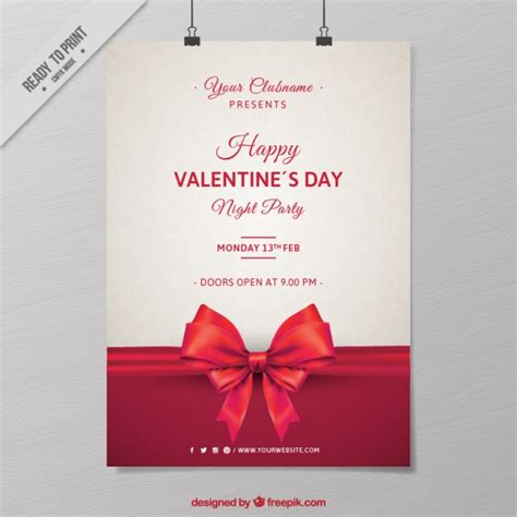 valentines poster s poster with bow vector free