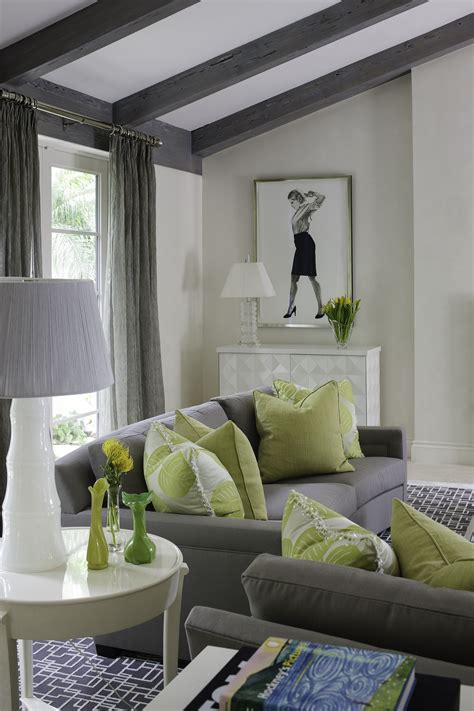 green and grey living room sitting area lime green accent pillows interiordesign