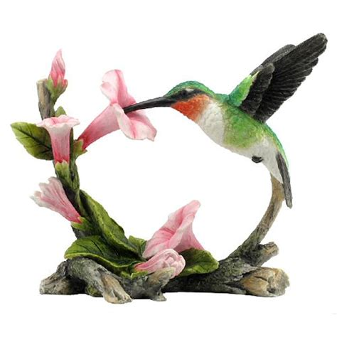 ruby throated hummingbird with flowers sculpture fitzula