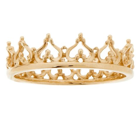 Kqueen Gold 14k gold polished s crown ring j320021 qvc