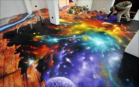 amazing space scene spray painted on floor i feel the