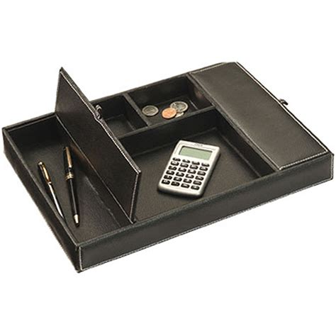 Faux Leather Desk Accessories Faux Leather Dresser Desk Valet In Desk Accessories