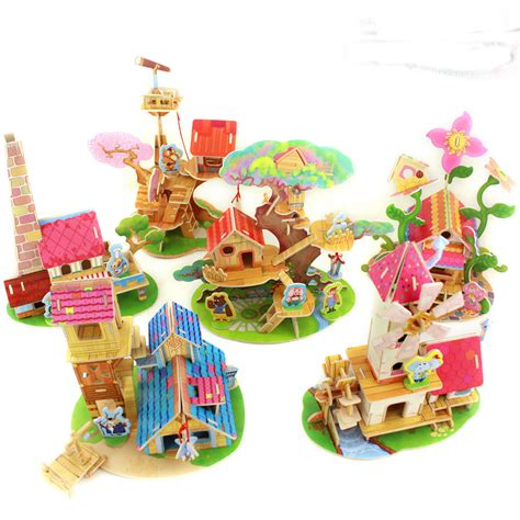 3 D Puzlle Happy House free shipping 6 designs for choose diy wood 3d house