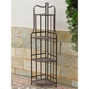 Bakers Rack Corner International Caravan Santa Fe Outdoor 3 Tier Corner