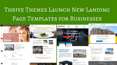 Thrive Themes Templates Thrive Themes Launch New Business Landing Page Templates
