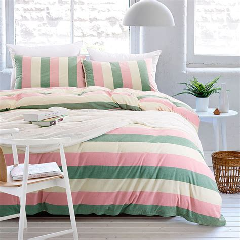 Comfortable Duvet Covers aliexpress buy stripe bedding set washed cotton