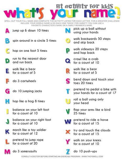 What S Your Name Fitness Activity Printable For Kids