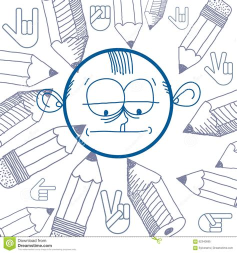 education theme drawing vector graphic colorful drawing of personality face male