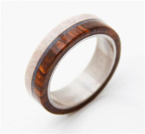 wedding band titanium ring silver ring wood turquoise