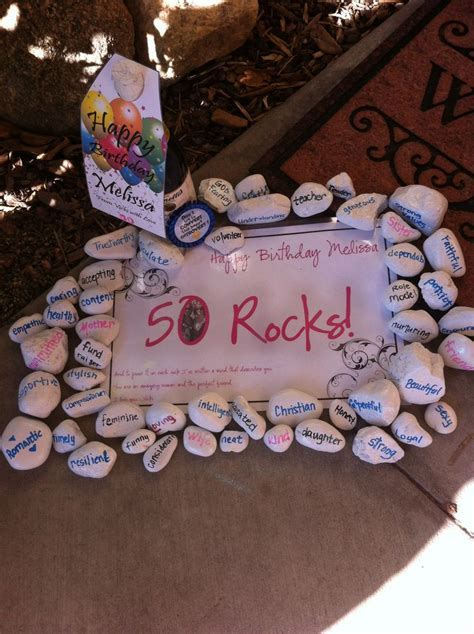 50 Rocks! Painted rocks with descriptive words to