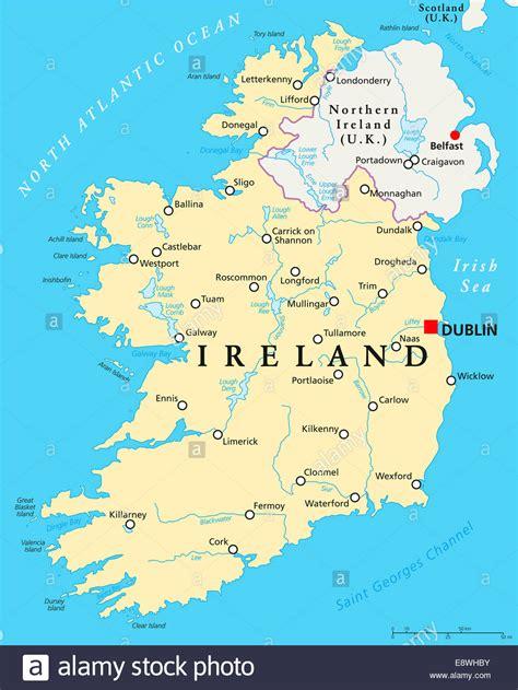 ireland political map with capital dublin national