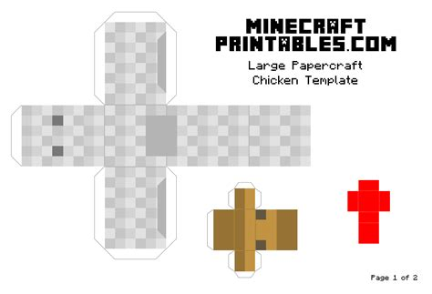 Printable Papercraft - chicken printable minecraft chicken papercraft template