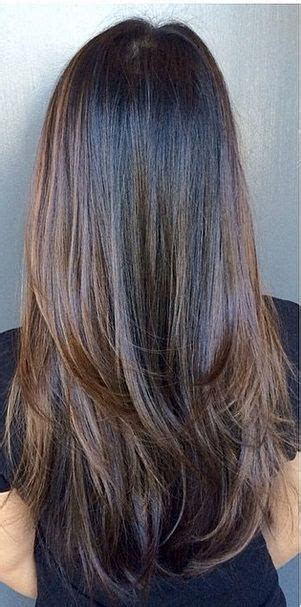 what are underneath layer in haircust straight long chocolate brown hair with heavy bottom