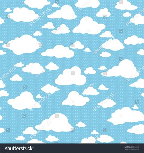 pattern blue sky blue sky with clouds vector seamless pattern 293204306