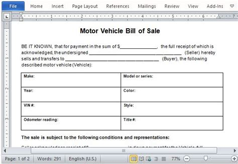 10 sle of vehicle bill of sale template manager s club