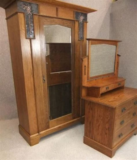 arts and crafts oak wardrobe and dressing table antiques