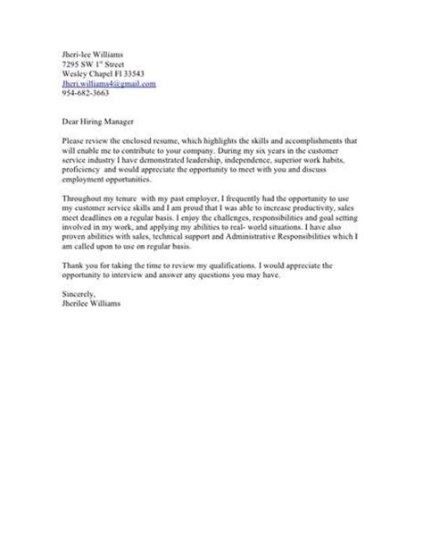 Cover Letter To A Hiring Manager by Sle Cover Letter Hiring Manager Sle Letters
