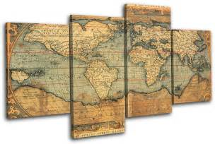 World Map Canvas Print by Old World Atlas Maps Flags Multi Canvas Wall Art Picture