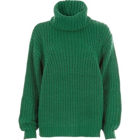 knit jumper green chunky knit roll neck jumper jumpers knitwear
