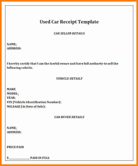 how to write a car receipt template used car receipt template hardhost info