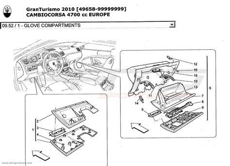 maserati parts catalog maserati granturismo 4 7l boite f1 2010 glove compartments