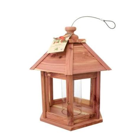 cedar works gazebo bird feeder 100080629 the home depot