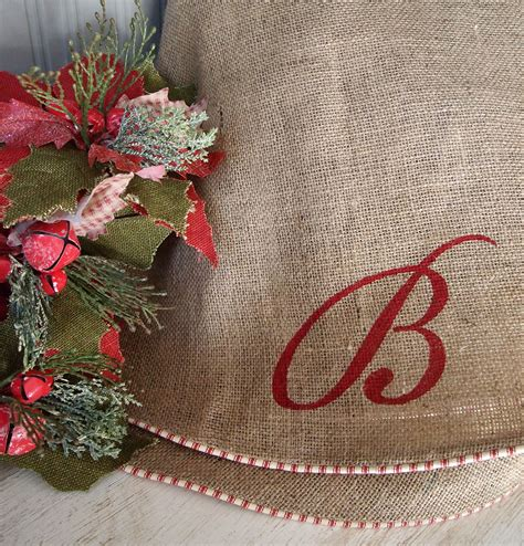 60 natural burlap christmas tree skirt red white