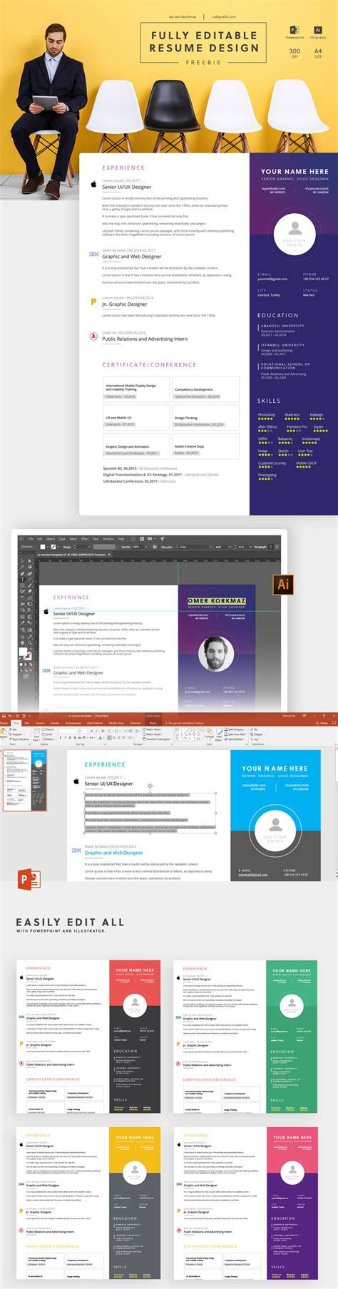 Creative Resume Template Illustrator And Powerpoint Bypeople Adobe Illustrator Presentation Templates
