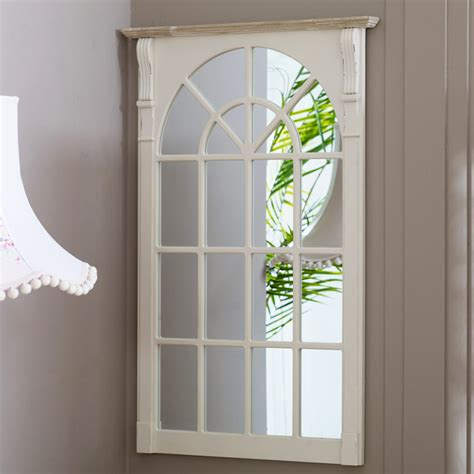 cream wooden vintage country window mirror wall mounted