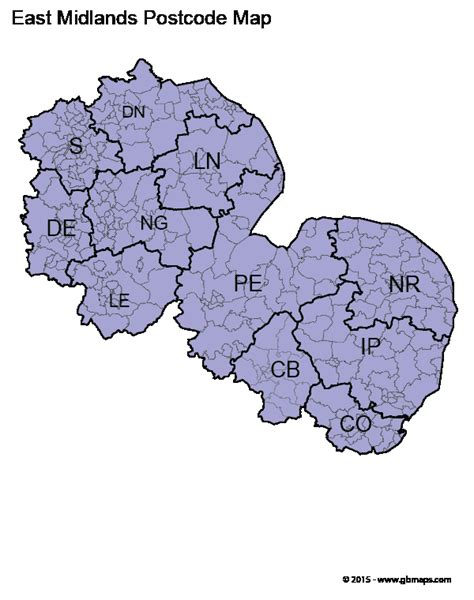 map uk midlands east midlands postcode area and district maps in pdf