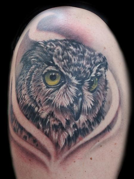 owl tattoo with green eyes owl with green eyes