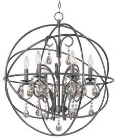 Spherical Chandelier Orbit Oil Rubbed Bronze Crystal Pendant Orb Sphere