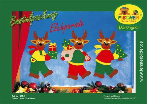 Fensterbilder Weihnachten Basteln Kostenlos by Fensterbild Bastelvorlage Elchparade Fischer Fensterbilder