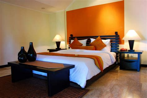 Light Orange Headboard Area Bedroom Colors With Black Light Orange Bedroom