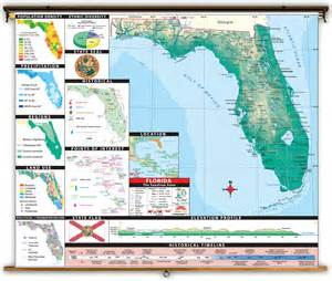 florida state thematic classroom map on roller from