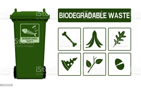 set  biodegradable waste icon  transparent background