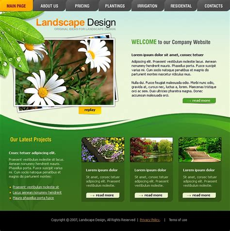 Landscape Design Flash Template 15651 Free Landscape Design Templates