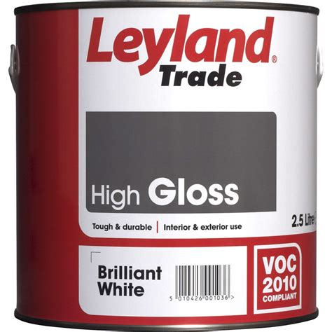 high gloss paint leyland trade high gloss paint brilliant white 2 5l