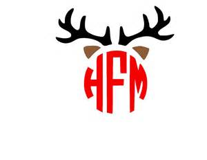 rudolph ears reindeer monogrammed antler and ears svg by